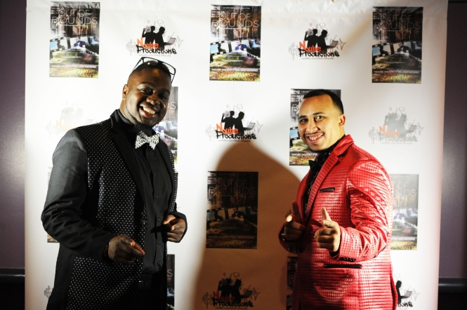 Red carpet premier of Out of Bounds, on Thursday, Nov. 12, 2015 at Showcase Cinemas in Randolph. The movie is directed by Noube Rateau, left, and William Medero, of Brockton, the iMax cinema was sold out. (Marc Vasconcellos/The Enterprise)